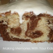 marble cake with white chocolate glaze