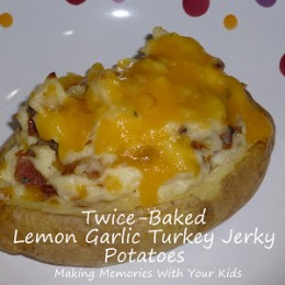 Twice-Baked Lemon Garlic Turkey Jerky Potatoes and a Giveaway