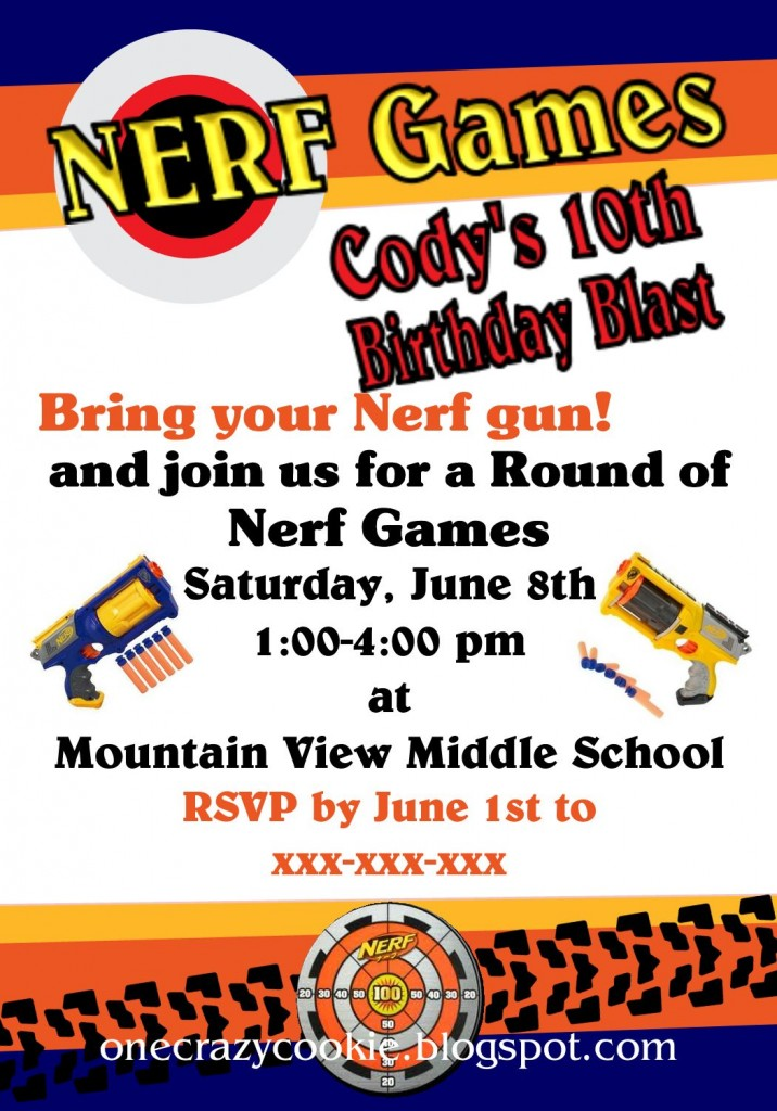 Nerf Birthday Party Invitations Making Memories With Your Kids - Party invitation template: nerf war party invitation template