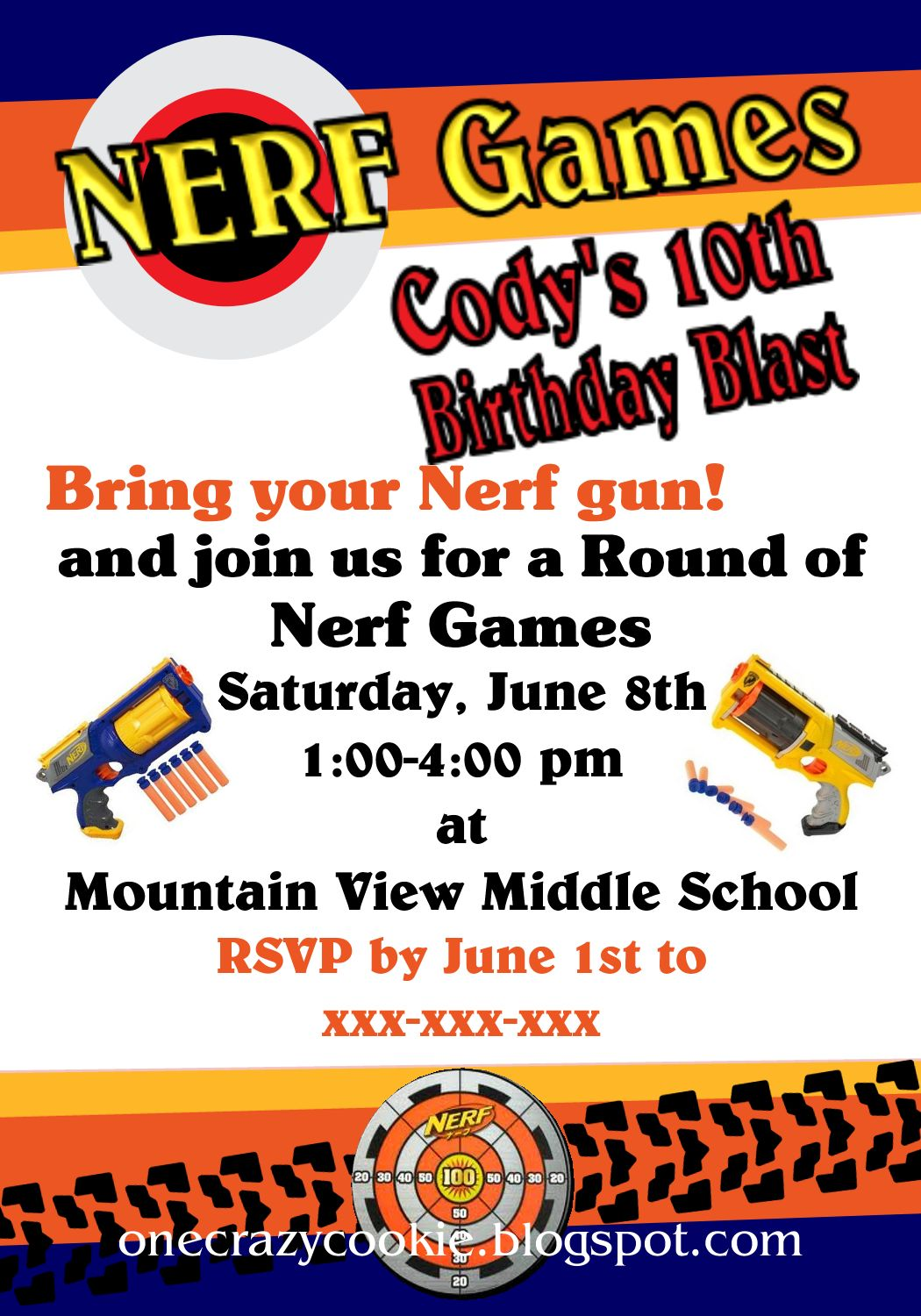 Nerf Party Invitations and get inspiration to create nice invitation ideas
