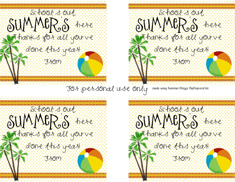 summer's here gift tag