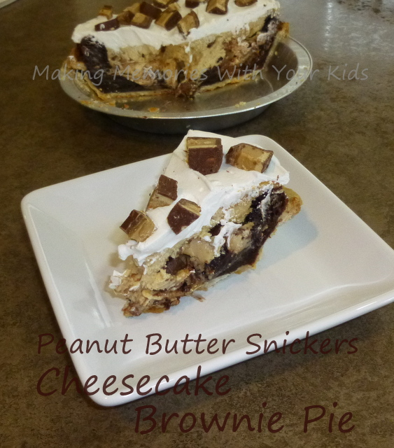PB snickers cheesecake brownie pie