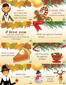 Thanksgiving and Christmas Lunch Box Notes
