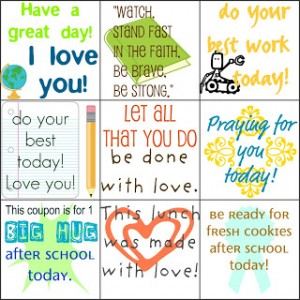 free printable lunch love notes