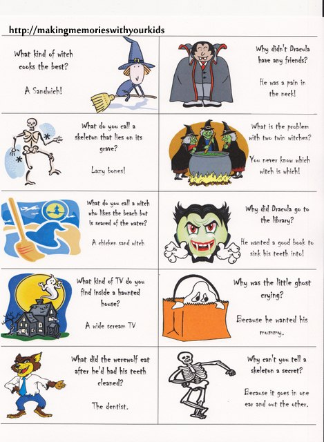 Halloween Jokes Lunch Box Notes - Making Memories ...
