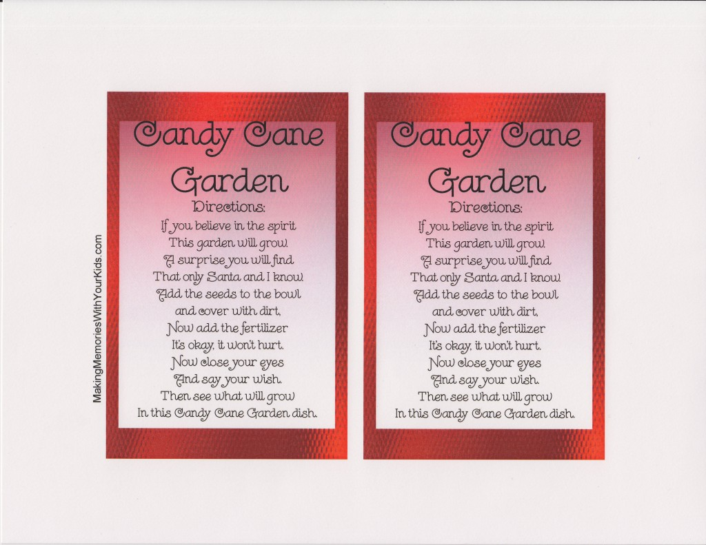 image about Candy Cane Poem Printable called A Sweet Cane Back garden towards Zachary, Our Elf upon the Shelf Totally free