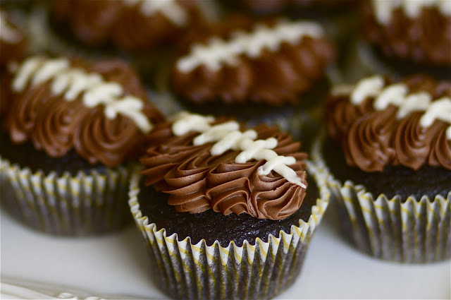 Double Chocolate Football Cupcakes
