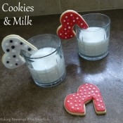 Valentine's Day Heart Cookies and Milk