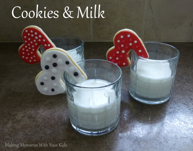 Sugar Cookies and Milk for Valentine's Day