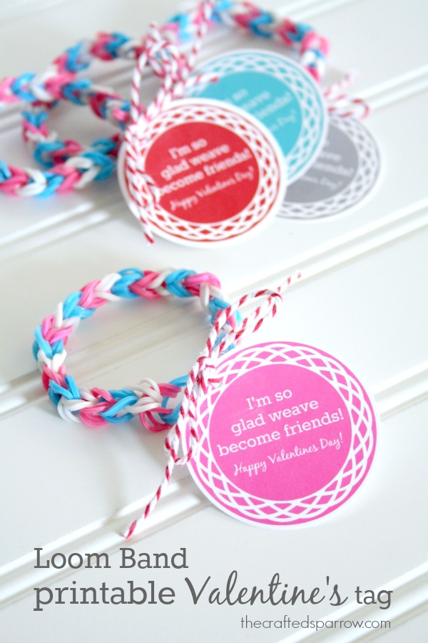 Loom Band Valentine Cards with Free Printable