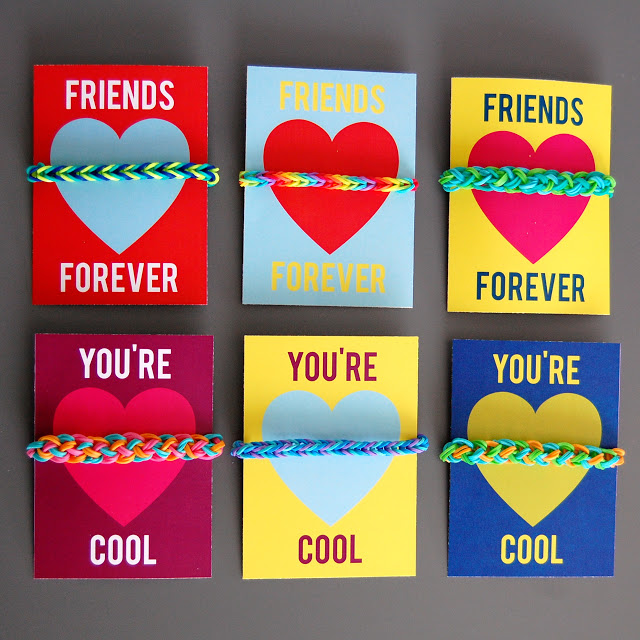 Loom Band Valentine Cards with Free Printables