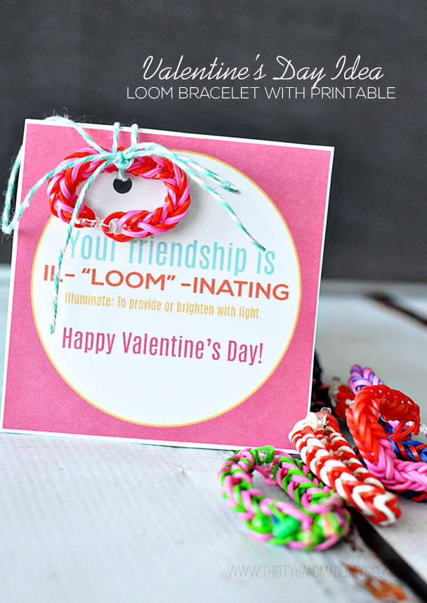 Rainbow Loom Band Valentine Cards with Free Printable