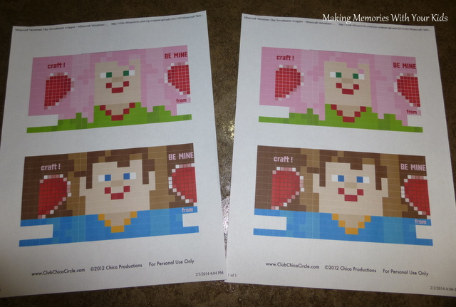 Minecraft Valentine's Day Gift Idea with Printable