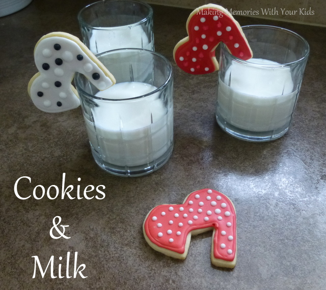 Valentine's Day Sugar Cookies and Milk