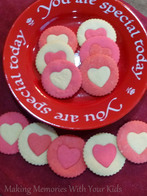 Two Tone Heart Sugar Cookies for Valentine's Day
