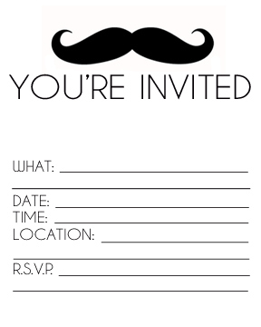 graphic regarding Printable Party Invitations titled Mustache Birthday Celebration Invites Printables and the