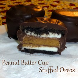 Peanut Butter Cup Stuffed Oreos Dipped in Chocolate