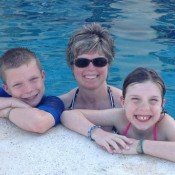 Erin and kids in the pool