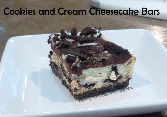 Cookies and Cream Cheesecake Bars - Making Memories With Your Kids