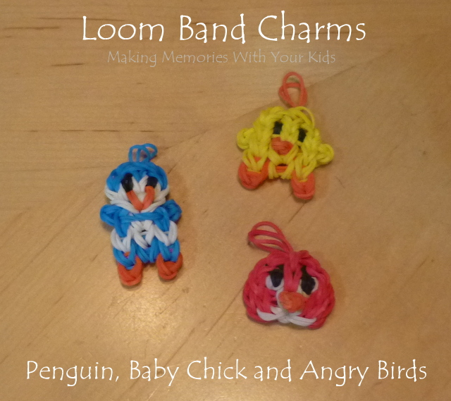 Loom Band Charms - Penguin, Baby Chick and Angry Birds