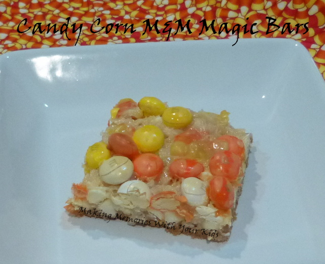 Candy Corn M&M Magic Bars - Halloween Fun Food