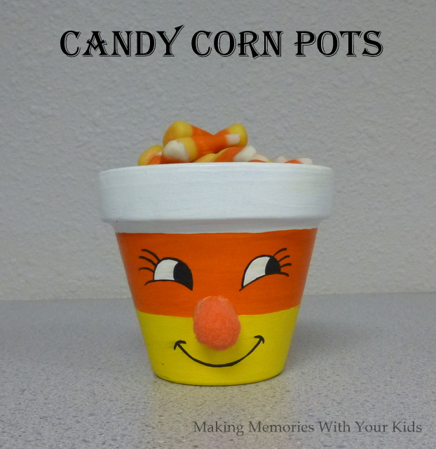 Candy Corn Pots for Halloween