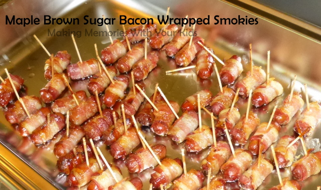 Maple Brown Sugar Bacon Wrapped Smokies