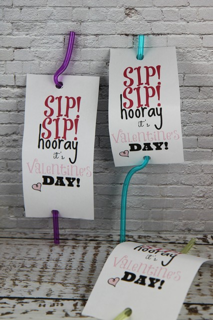 Sip Sip Hooray Silly Straw Valentine Gift Idea with Free Printable