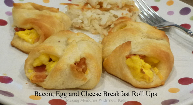 Bacon, Egg and Cheese Breakfast Roll Ups