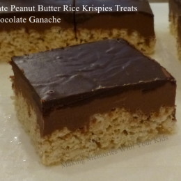 Chocolate Peanut Butter Rice Krispies Treats with Chocolate Ganache