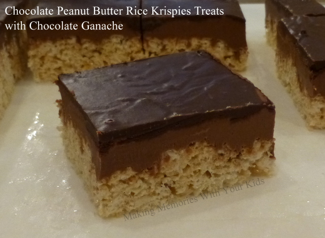Chocolate Peanut Butter Rice Krispies Treats with Chocolate Ganache ...