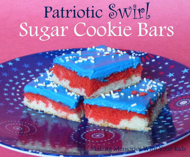 Patriotic Sugar Cookie Bars for 4th of July Holiday