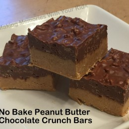 No Bake Peanut Butter Chocolate Crunch Bars