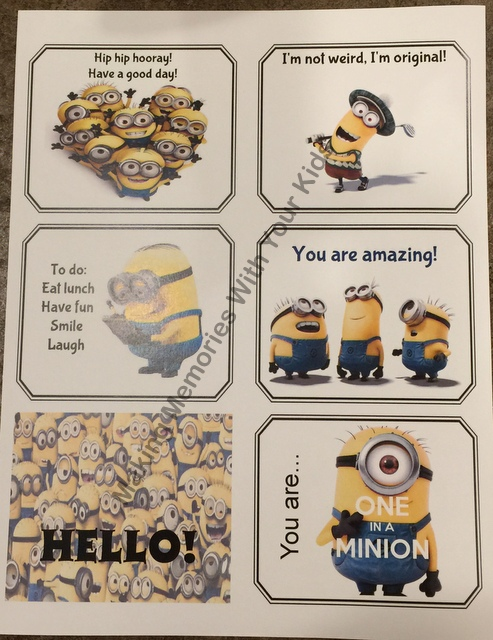 Minion Lunch Box Notes - Free Printable - second set