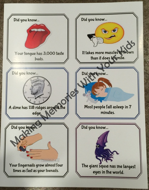 graphic relating to Printable Trivia for Kids called Enjoyable Data Trivia Lunch Box Notes Totally free Printables - Creating