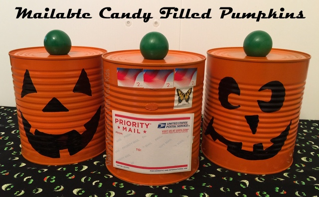 DIY Fun Mailable Postcard for Halloween - Candy Filled Pumpkin Can