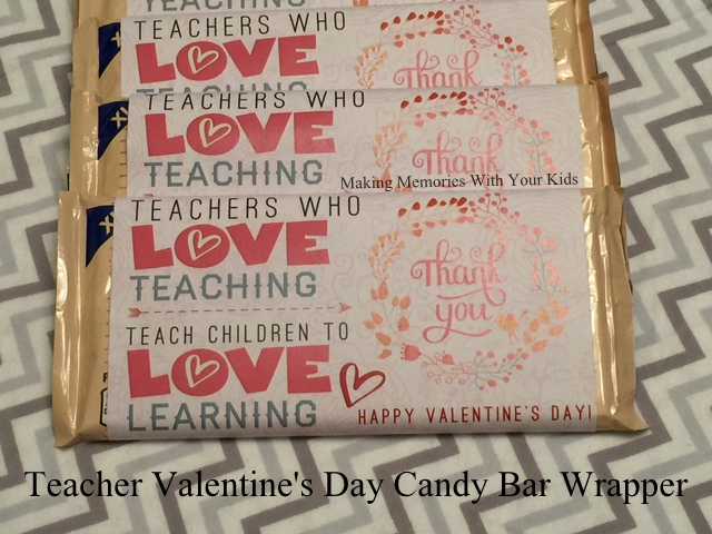 Teacher Valentine's Day Candy Bar Wrapper - Teacher Appreciation - with free printable