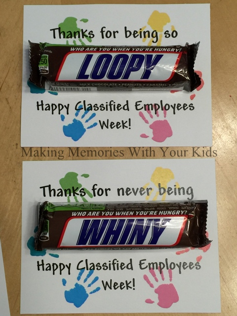 Snickers Candy Bar Thank You Gift Idea for Classified Employees Week