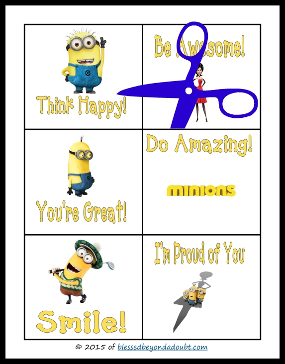 Minion Lunch Box Notes