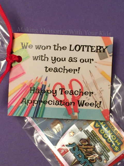 We Won the Lottery Teacher Appreciation Gift Idea with Printable Tag
