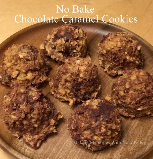 No Bake Chocolate Caramel Cookies