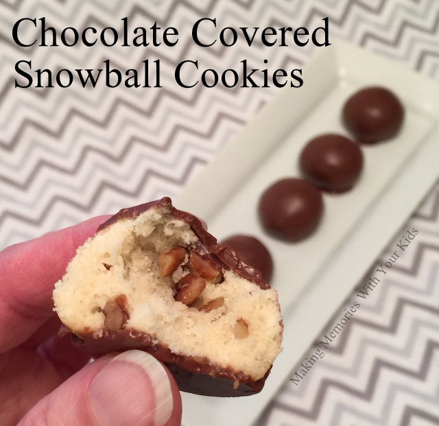 Chocolate Covered Snowball Cookies
