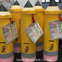 Giant Pencils Filled with Goodies - Teacher Gift Idea
