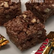 Chocolate Caramel Twix Rice Crispy Treats