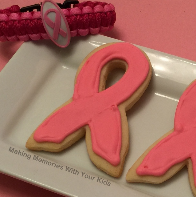 Pink Ribbon Sugar Cookies for Breast Cancer Awareness Month